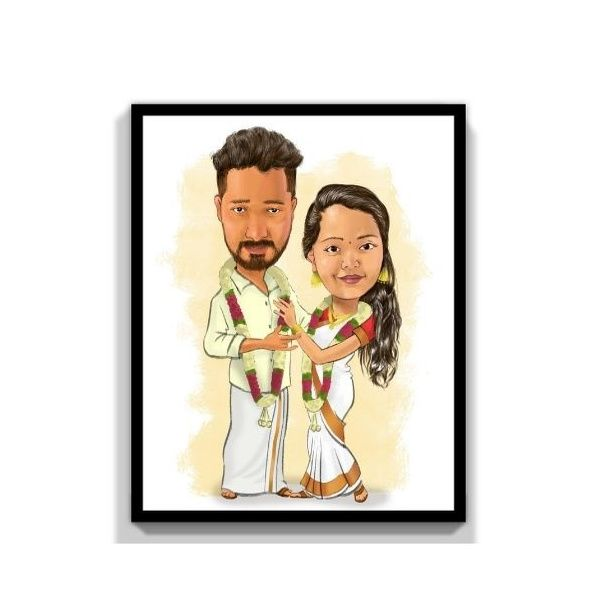 Privy Express Wedding - They Got Hitched Digital Color Personalized Caricature for 2 Persons Personalize Caricature Gifts