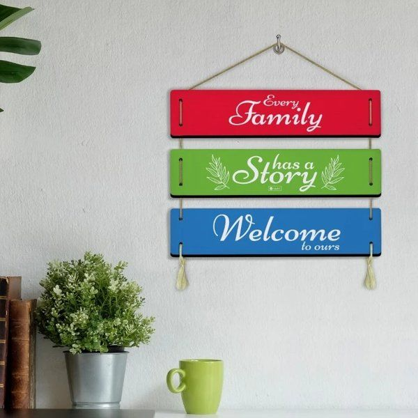 Indigifts Welcome Home Printed Panel Wall/Door Sign Hanging Wall Decoration Items