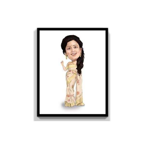 Privy Express Wife - Queen Of My Life Digital Color Personalized Caricature for 1 Person Personalize Caricature Gifts
