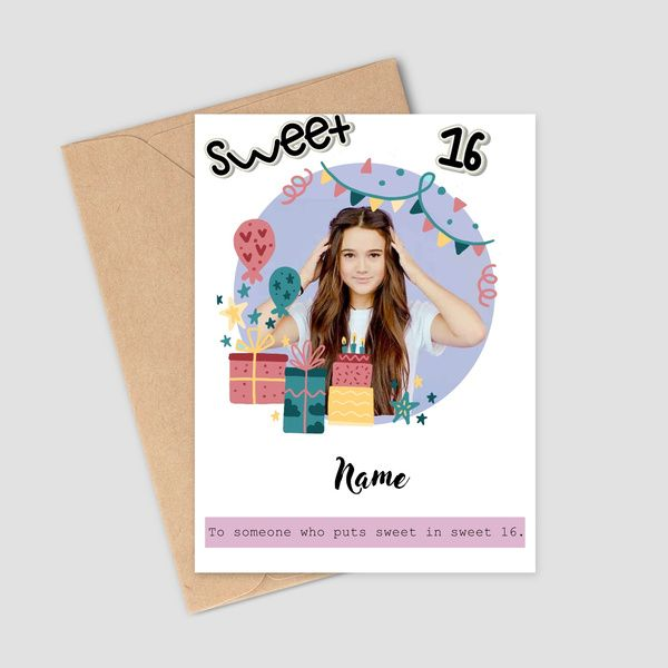 Privy Express Wishes On 16th Birthday With Customized Photo & Name Greeting Card Birthday Cards For Girls