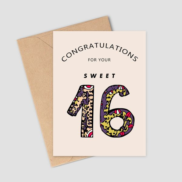 Privy Express Wishing Sweet 16th Birthday Sweet Greeting Card Birthday Gifts Under 300 Rupees