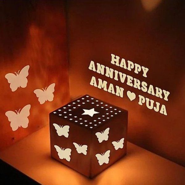 Waah Craft Wooden Shadow Box Happy Anniversary Personalised Couple Name Monthly Anniversary