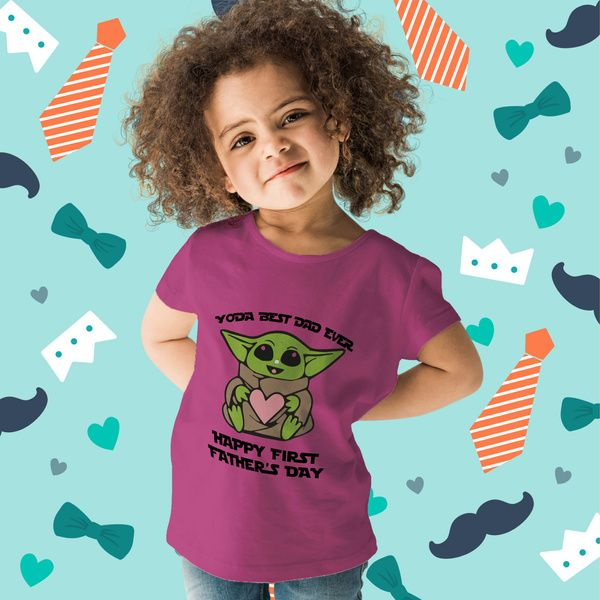 Privy Express Yoda Best Dad Ever Star Wars Happy First Father's Day T-shirt for Girls | Cotton | Crew Round Neck | Gift for Father Kids Fashion Wear