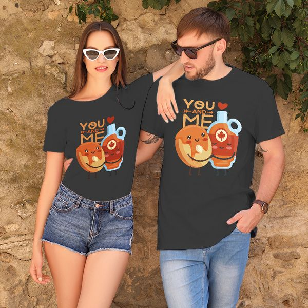 Privy Express You and Me Quirky Printed Cotton Crew Round Neck Couple T-shirts Couple T Shirts