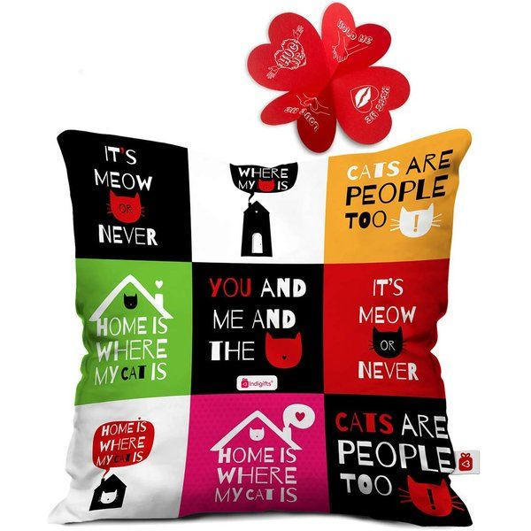 Indigifts You and Me Quote Multi Cushion Cover with Filler Birthday Gifts Under 300 Rupees