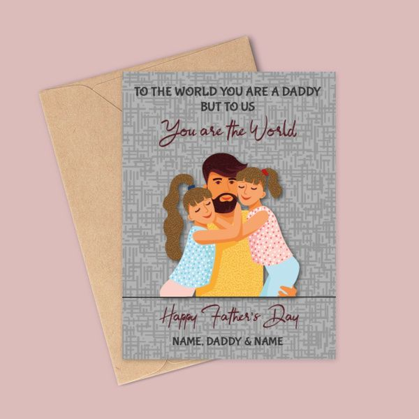 Privy Express You're the World Happy Father's Day Daddy & Baby Name Personalized Greeting Card Gifts For 60 Year Old Man
