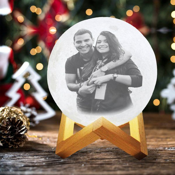 Soch3D Christmas Couples 3D Multicolor Moon Lamp with Customised Photo and Personalised Text-Touch Control Moon Lamp With Photo