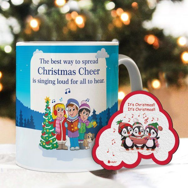 Indigifts Christmas Mugs Spread Christmas Cheer Printed Blue Coffee Mug & Fridge Magnet Combo Birthday Gifts For Long Distance Friends