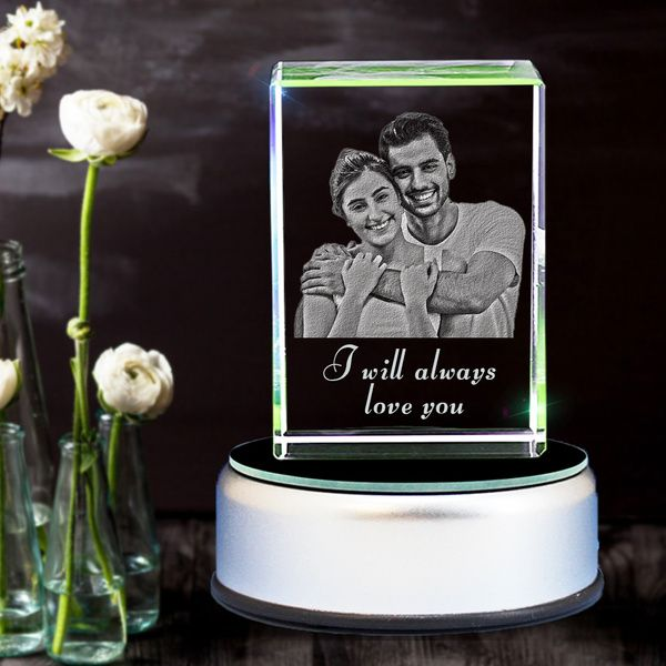 Privy Express Couple Forever Love Custom 3D Photo Personalised Rectangular Anniversary Crystal Gift Ideas For Newly Married Couple