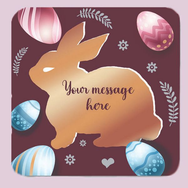Privy Express Cute Bunny Rabbit Personalised Fridge Magnet with Message Customization | Square 3.5