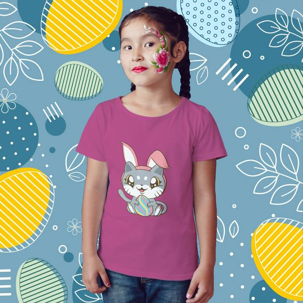 Privy Express Easter Kitty Cartoon Cat Kids Graphic T-shirt for Girls | Cotton | Crew Round Neck 13th Birthday Gifts