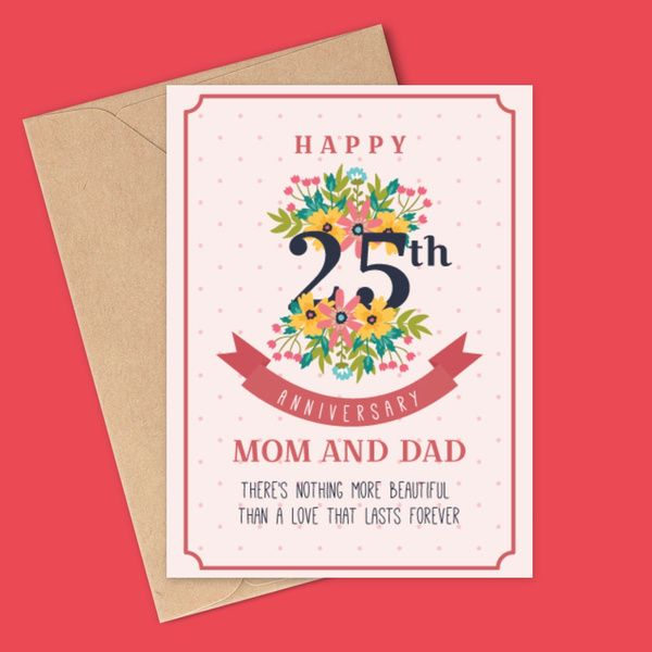 Privy Express Floral 25th Marriage Anniversary Message Personalized Greeting Card for Mom & Dad Gift Ideas For Parents