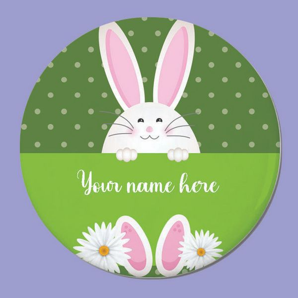 Privy Express Floral Bunny Personalised Round Fridge Magnet with Name Customization Customized Fridge Magnets