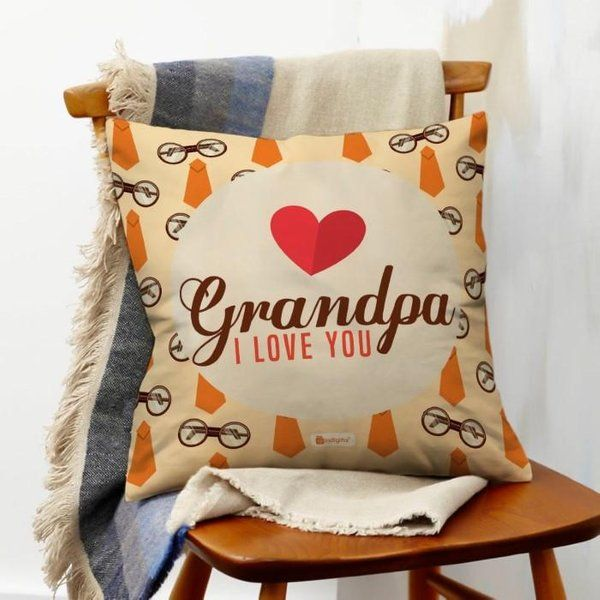 Indigifts Grandpa I Love You (Brown) Cushion Gifts For Grandfather