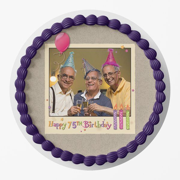 CakeZone Happiest 75th Birthday Photo Personalized Designer Photo Cake Gifts For Grandfather