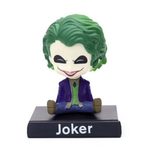 Awestuffs Joker Laughing Phone Holder Car Decoration Bobblehead Action Figure Special Birthday Gift For Brother