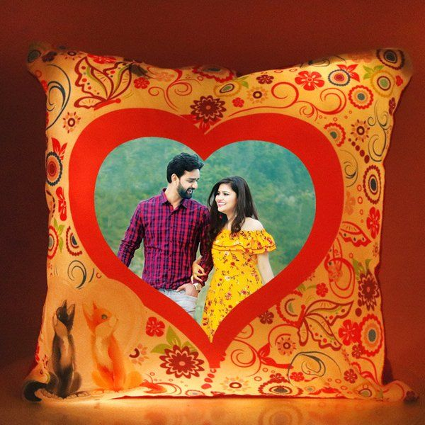 FlowerAura Live In Heart LED Cushion Gift Ideas For Newly Married Couple