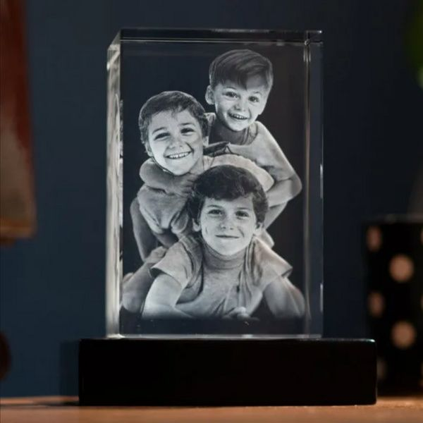 Privy Express Mischievous Kids Family Personalized Cube Laser Engraved 3D Crystal  13th Birthday Gifts