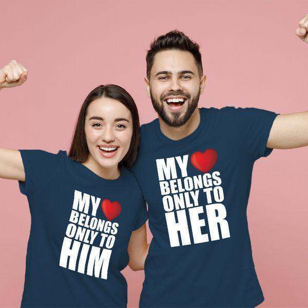 Privy Express My Heart Belongs Only to Him and Her Cute Printed Cotton Crew Round Neck Couple T-shirts His And Hers Gifts