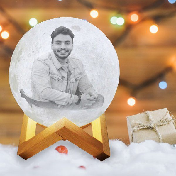 Soch3D New Year 2021 Best Friend 3D Multicolor Moon Lamp with Photo and Personalised Text - Touch Control Moon Lamp With Photo