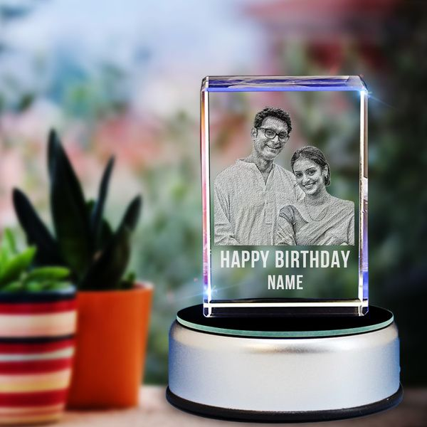 Privy Express Personalized 3D Engraved Crystal Cube Pre Birthday Gifts