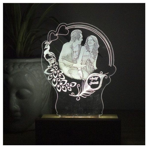 Dezains Personalized Round Photo Night Lamp  Gift Ideas For Newly Married Couple