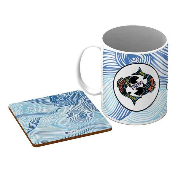 Indigifts Pisces Zodiac Blue Coffee Mug + Coaster Special Birthday Gift For Brother