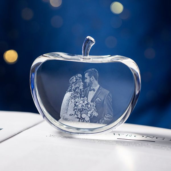 Privy Express Wedding Moments Customized Apple Crystal Laser Engraved 3D Crystal  Marriage Gifts For Boys